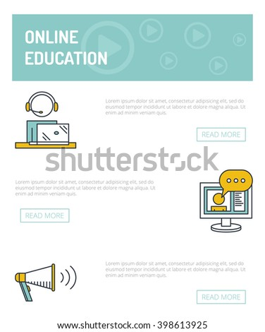 Online Education Concept Template Vector Outline Stock Vector ...