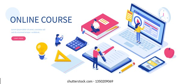Online education concept with text place. Can use for web banner, infographics, hero images. Flat isometric vector illustration isolated on white background.
