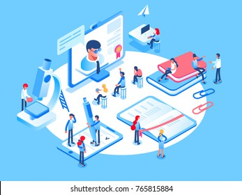 Online education concept. Online training courses, specialization, university studies. 3d isometric people.