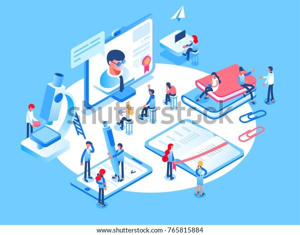 Online education concept. Online training courses, specialization, university studies. 3d isometric people.