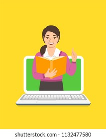 Online education concept. Young asian woman teacher holds open book and lifts a finger up to share knowledge. Cartoon vector illustration. Distance learning by computer. Virtual library on internet