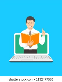 Online education concept. Young asian man teacher holds open book and lifts a finger up to share knowledge. Cartoon vector illustration. Distance learning by computer. Virtual library on internet
