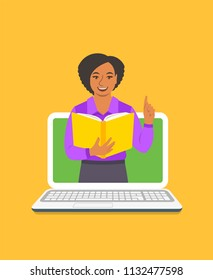 Online education concept. Young black woman teacher holds open book and lifts a finger up to share knowledge. Cartoon vector illustration. Distance learning by computer. Virtual library on internet