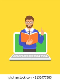 Online education concept. Young man teacher holds open book and lifts a finger up to share knowledge. Cartoon vector illustration. Distance learning by computer. Virtual library on internet
