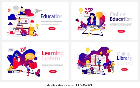 Online education courses banner set. Online library and e-learning system. Modern wireless technology. Isolated flat vector illustration