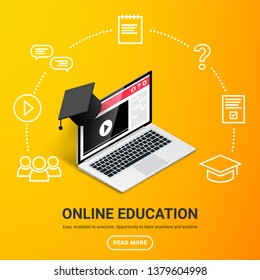 Online education design concept. Online learning, webinar, distance education, business training banner with text. Isometric laptop with graduation cap with icons around on yellow gradient background