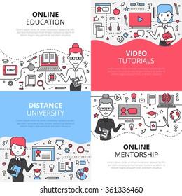 Online education design concept set with video tutorials distance university and online mentorship icons composition flat vector illustration