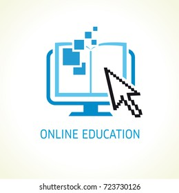 Online education digital school book and cursor vector logo. Digital open book with pages in monitor and pixel data. E-book or e-reader soft icon. On-line education blue vector sign