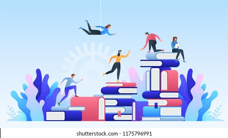 Online education. Distance learning, online courses, education, online books and textbooks, collective learning, exam preparation. Training young people to gain knowledge from books and the Internet.