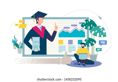 Online Education, Distance Learning, Internet University or Collage Flat Vector Concept. Man Watching Online Courses on Laptop, Student in Graduation Hat and Mantle on Computer Monitor Illustration