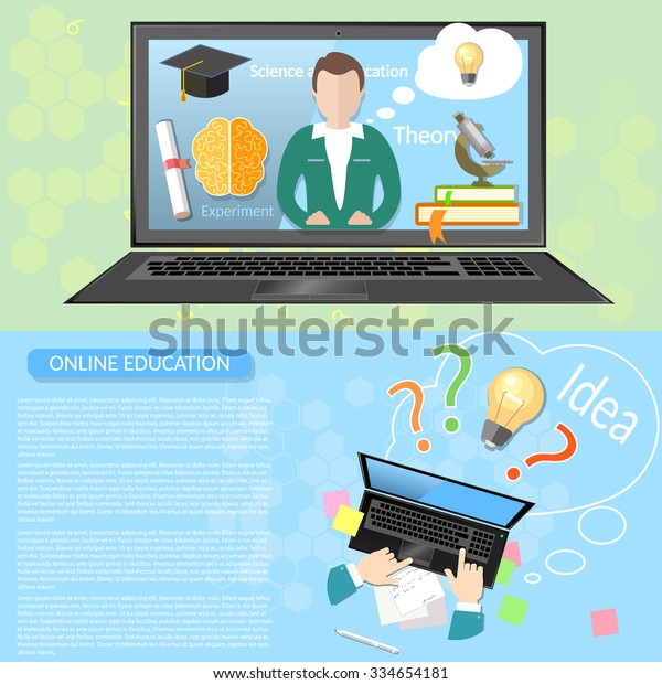 Online Education Distance Learning Student University Stock Vector Royalty Free 334654181