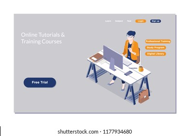 Online education, e learning, web course.Online education Isometric flat design.