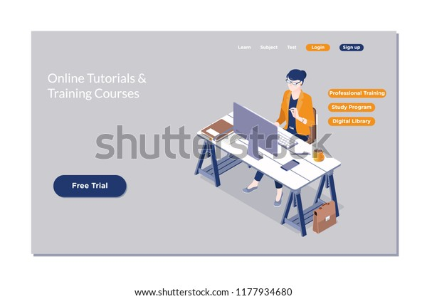 Online Education E Learning Web Courseonline Stock Vector Royalty Free 1177934680