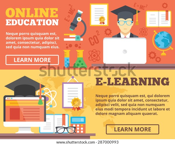 Online Education Elearning Flat Illustration Concepts Stock Vector Royalty Free 287000993