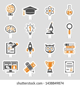Online Education and E-learning Icon Sticker Set for Flyer, Poster, Web Site. Vector illustration