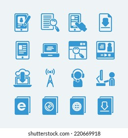 Online education e-learning icons.Vector EPS10