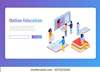 Online education, E-learning isometric concept,  training courses. 3d isometric people. Vector illustration.