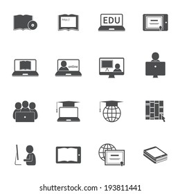 Online education e-learning silhouette video tutorial training icons set vector illustration
