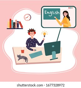 Online education, English class. Distance school. Student is learning English at home. Pupil is listening teacher. E-learning education vector concept. Tutor explain new lesson. Digital course.