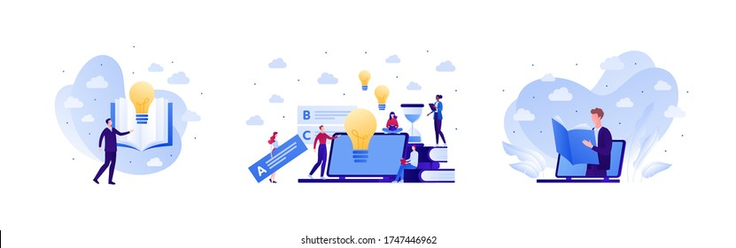 Online education and exam test concept. Vector flat people illustration set. Collection human character with laptop computer, lightbulb, book element. Design for college, school, academy course banner