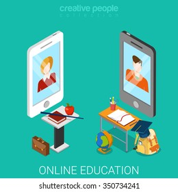 Online education flat 3d isometric technology knowledge concept web vector illustration. Big smart phones teacher student tables tools equipment icons.