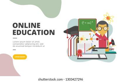 Online Education flat design banner illustration concept for digital marketing and business promotion
