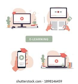 Online education. Flat design concept of training and video tutorials. Vector illustration for website banner, marketing material, presentation template, online advertising