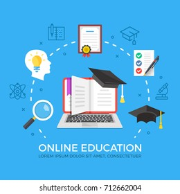 Online education flat illustration concept. Laptop with book and graduation hat. Creative flat icons set, thin line icons set for web banners, web sites, infographics. Modern vector illustration