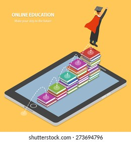 Online Education Flat Isometric Concept. Student Making His Educational Steps By Book Stacks On Tablet.