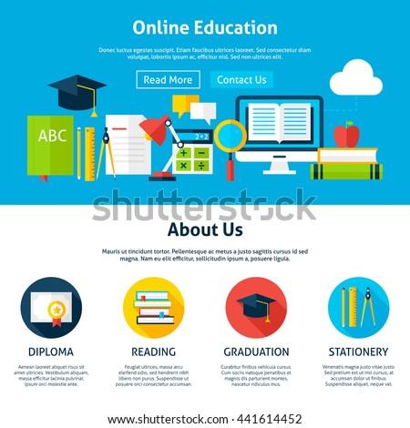 online education flat web design template のベクター画像素材