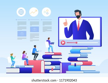 Online education and graduation. Online teacher on computer monitor. Webinar and video seminar learning vector concept.