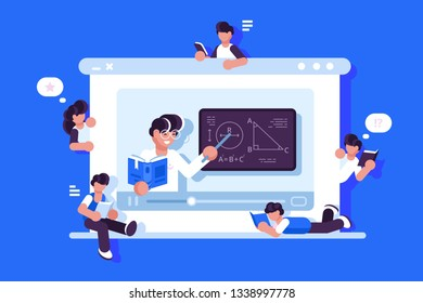 Online education and graduation vector illustration. Online teacher on laptop monitor explaining new material flat style design. Modern e-learning concept