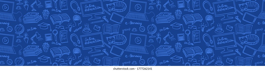 Online education hand drawn seamless web banner. E-learning doodles on blue background. Vector illustration.