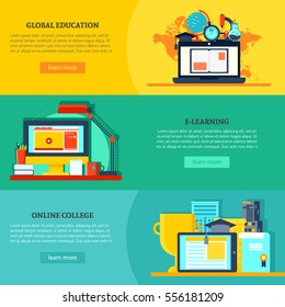 Online education horizontal banners with global virtual learning and training in flat style vector illustration