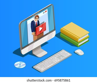 Online education icon isometric composition with books and desktop computer with video tutorial teacher in headset vector illustration
