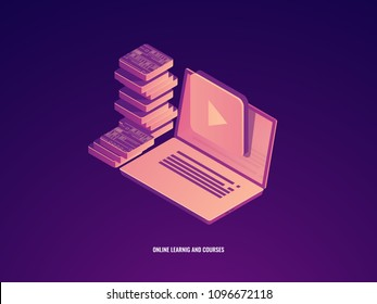 Online education icon, learning and courses, laptop with electronic book concept isometric vector icon
