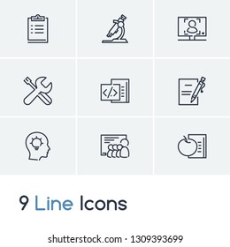 Online education icon set and enroll submit with physics, online course and workshop. Training related online education icon vector for web UI logo design.
