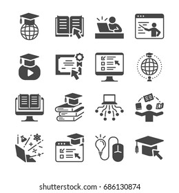 Online education icon set. Included the icons as e-learning, books, student, course, school and more.