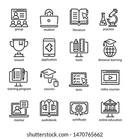 Online education icon set, internet studying course. Computer, laptop learning for business and knowledge. Vector line art e-learning illustration isolated on white background