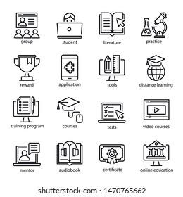 Online-Bildungs-Icon Set, Internet-Studium Kurs. Computer, Laptop-Lernen für Unternehmen und Wissen. Vektorgrafik-e-Learning-Illustration einzeln auf weißem Hintergrund