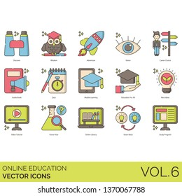Online education icons including discover, wisdom, adventure, vision, career choice, audio book, quiz, mobile learning, all, new ideas, video tutorial, know how, library, share, study program.