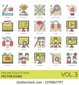 Online education icons including specialization, skill development, knowledge mastery, search, power, code learning, blended, language, audio book, video lesson, course, research, strategy, webinar.