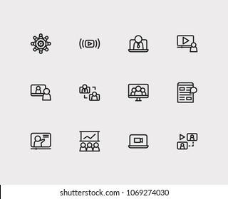 Online education icons set. Development training and online education icons with digital blog, business e-learning and video webinar. Set of organization for web app logo UI design.