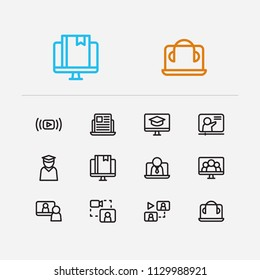 Online education icons set. Education e-learning and online education icons with business e-learning, webinar online and video meeting. Set of recourse for web app logo UI design.