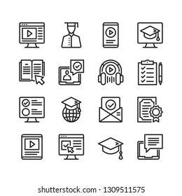 Online education icons set. E-learning concepts. Pixel perfect. Thin line design. Vector line icons set