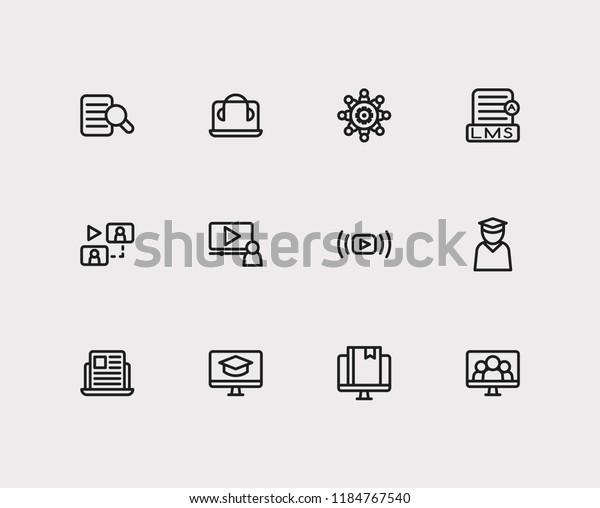 Online Education Icons Set Education Elearning Stock Vector Royalty Free 1184767540