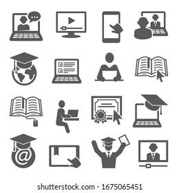 Symbole der Online-Bildung auf weißem Hintergrund