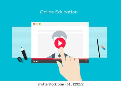 Online Education Illustration With Abstract Web Browser And Business Coach On Video Player. Flat Vector Concept.