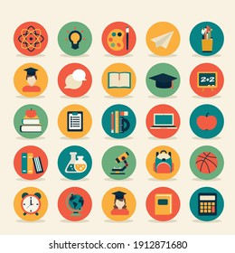 online education infographic icon set colorfull