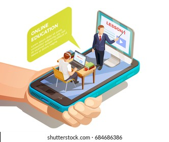 Online education isometric concept with hand holding smartphone with teacher and student on top of screen vector illustration